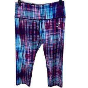 Gymshark Harlequin Capri Leggings Purple Tie Dye M